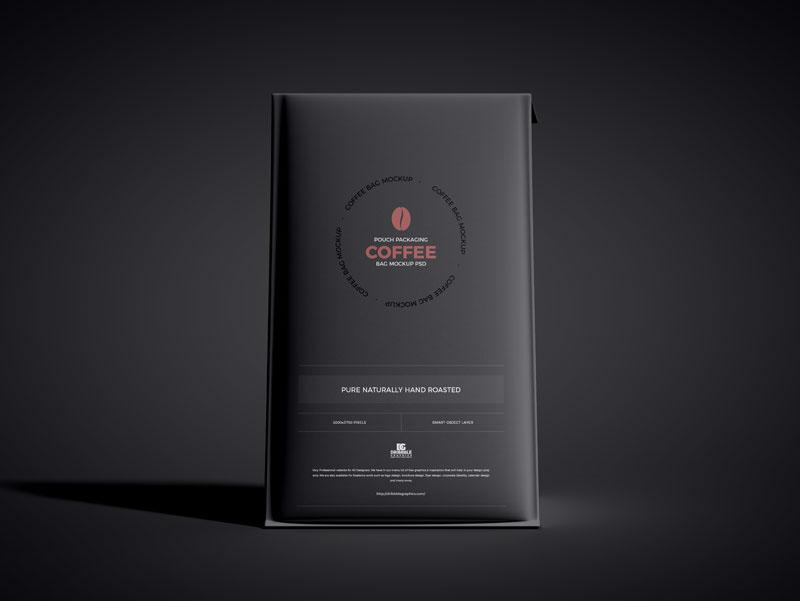 Free Packaging Coffee Pouch Bag Mockup (PSD)