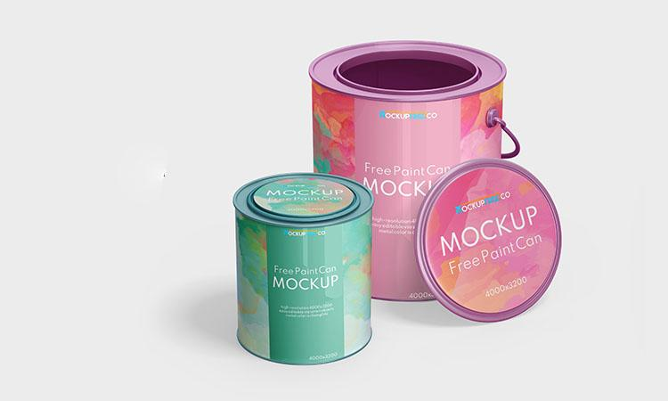 Free Paint Can Mockup Set (PSD)