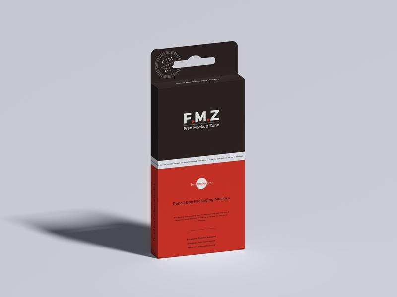 Free Pencil Box Packaging Mockup (PSD)