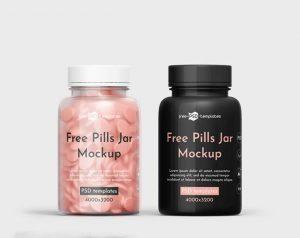 Free Pills Jar Mockup (PSD)