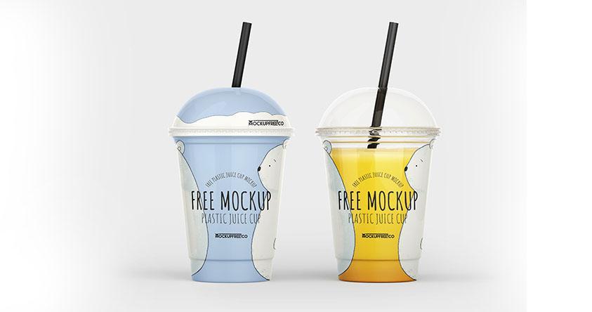 Free Plastic Juice Cup Mockup Template