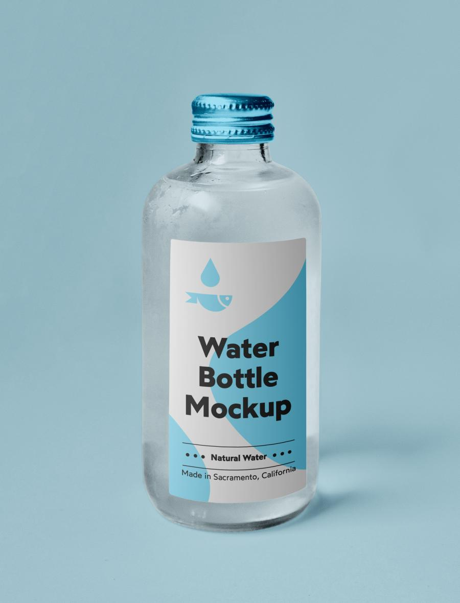 Free Small Glass Water Bottle Mockup
