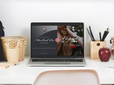 Free Workstation Front View MacBook Pro Mockup