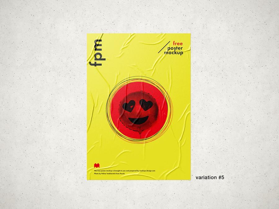 Free Wrinkled Poster Mockup (PSD)