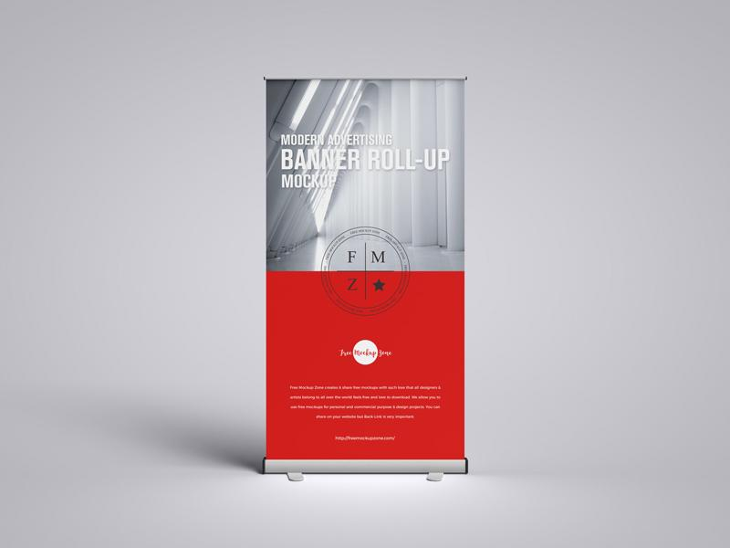 Modern Advertising Banner Roll-up Free Mockup