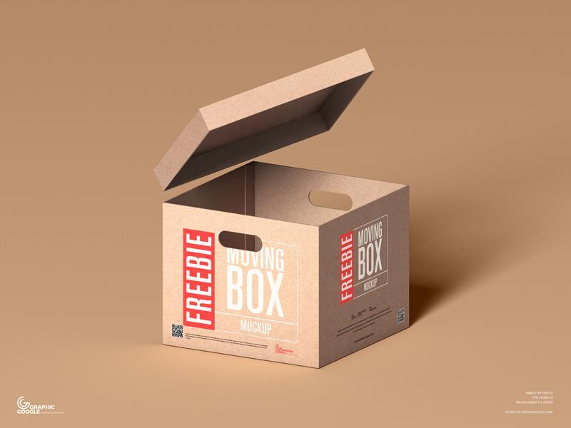 Moving Box Free Mockup (PSD)