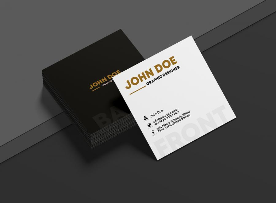 Square Business Card Free Mockup (PSD)