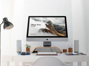 iMac Pro in Desk Free Mockup (PSD)