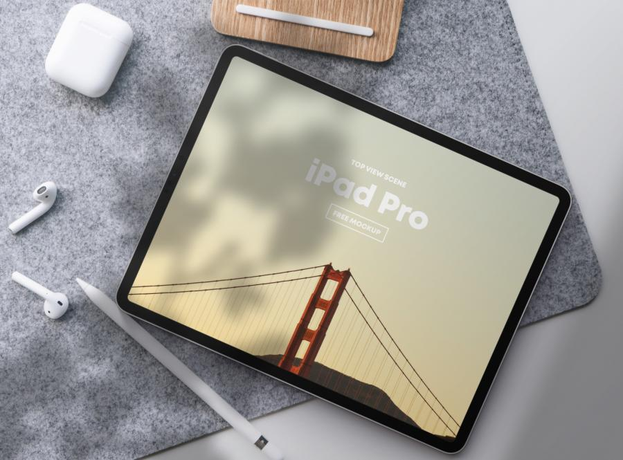 iPad Pro Top View Scene Free Mockup (PSD)