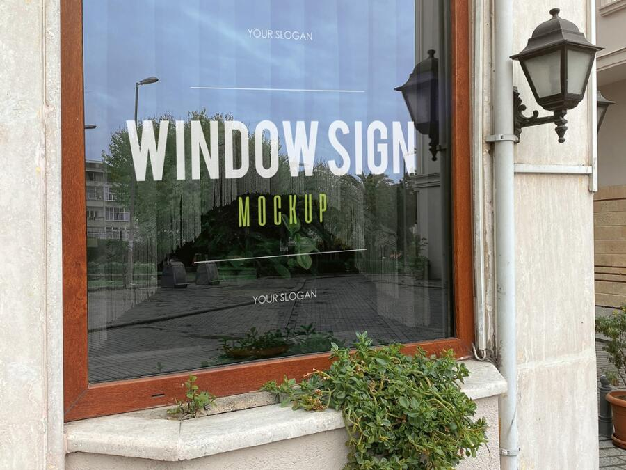 2 Free Restaurant Window Sign Mockup