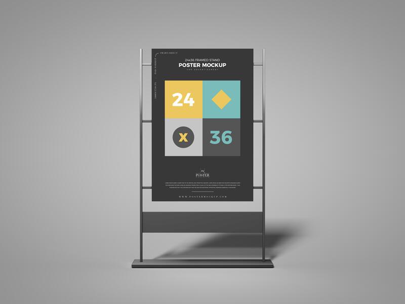 24×36 Framed Stand Poster Free Mockup