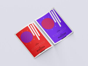 A3 Curved Paper Posters Free Mockup