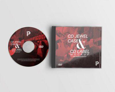 CD Jewel Case & CD Label Free Mockup