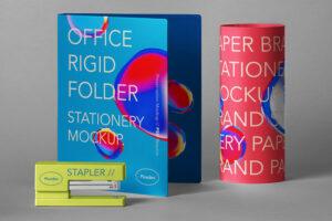 Folder Stationery Free Mockup Scene