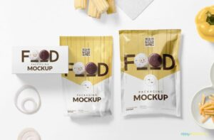 Food Packaging Pouch Free Mockup