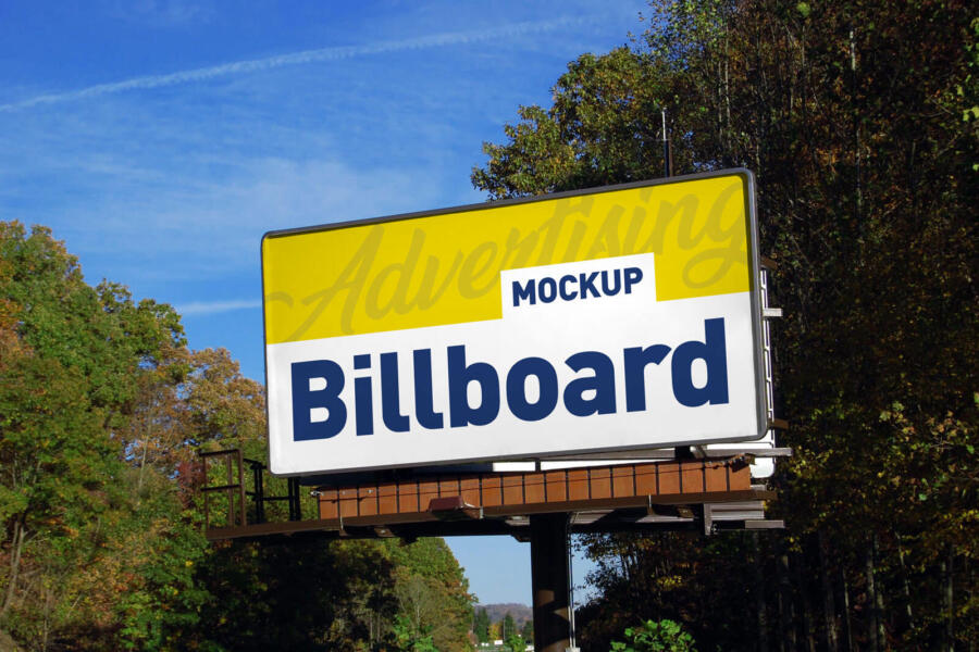 Free Advertising Billboard in Forest Mockup