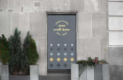 Free Bar Window Design Mockup