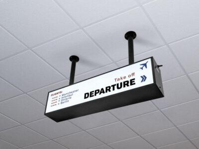 Free Ceiling Mounted Backlit Board Mockup