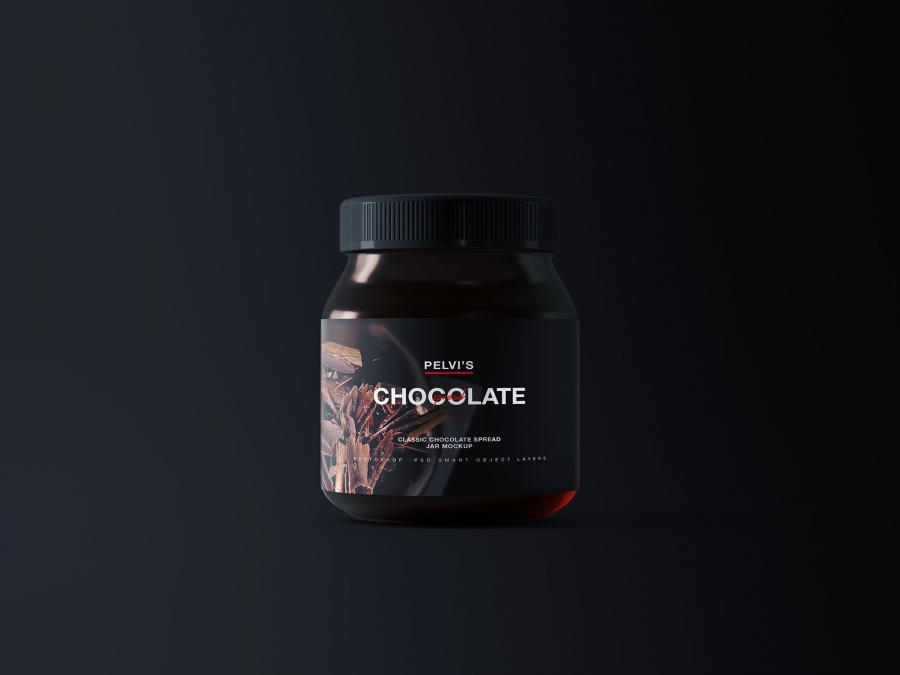 Free Chocolate Jar Mockup (PSD)