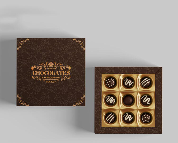 Free Chocolate Packaging Box Mockup (PSD)