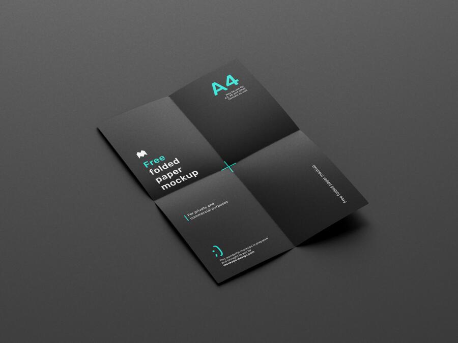 Free Folded Paper Mockup (PSD)
