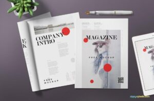 Free Magazine & ink pen Mockup