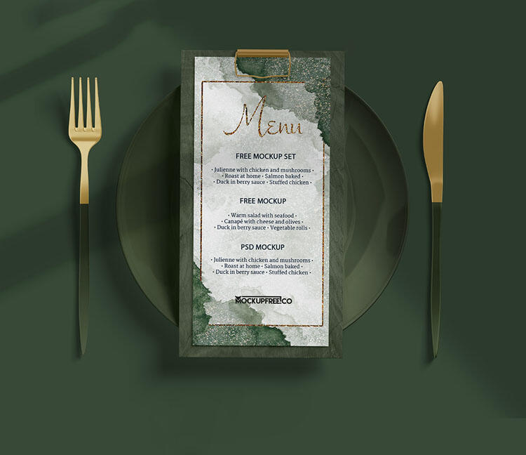 Free Menu Set Mockup (PSD)