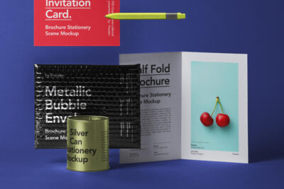 Free Stationery Brochure Envelope Mockup