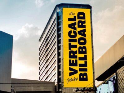 Free Vertical Building Billboard Mockup (PSD)