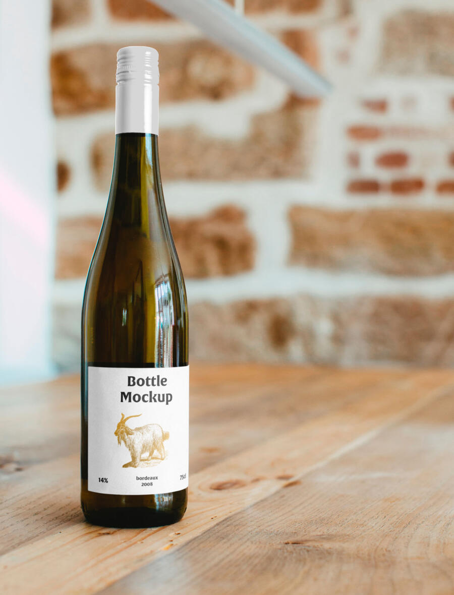 Free Wine Bottle on Table Mockup