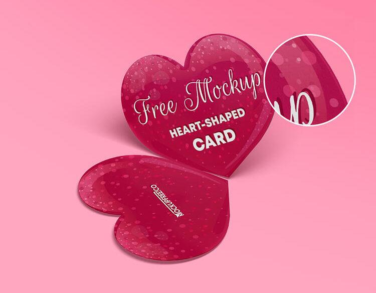 Heart Shaped Card Free Mockup Set