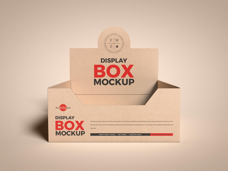 Kraft Empty Display Box Free Mockup