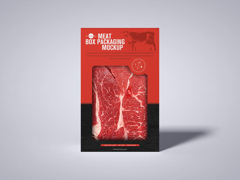 Meat Cutout Box Packaging Free Mockup