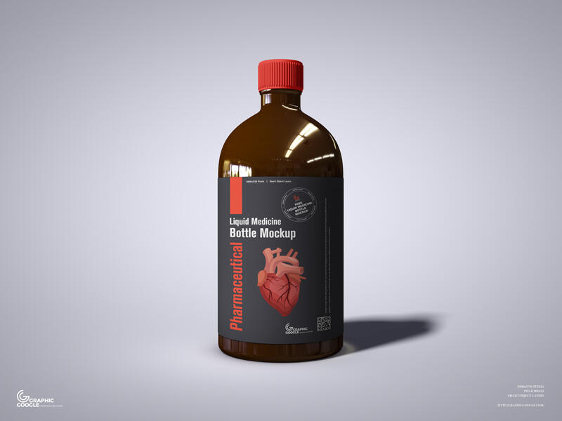 Pharmaceutical Liquid Medicine Bottle Free Mockup