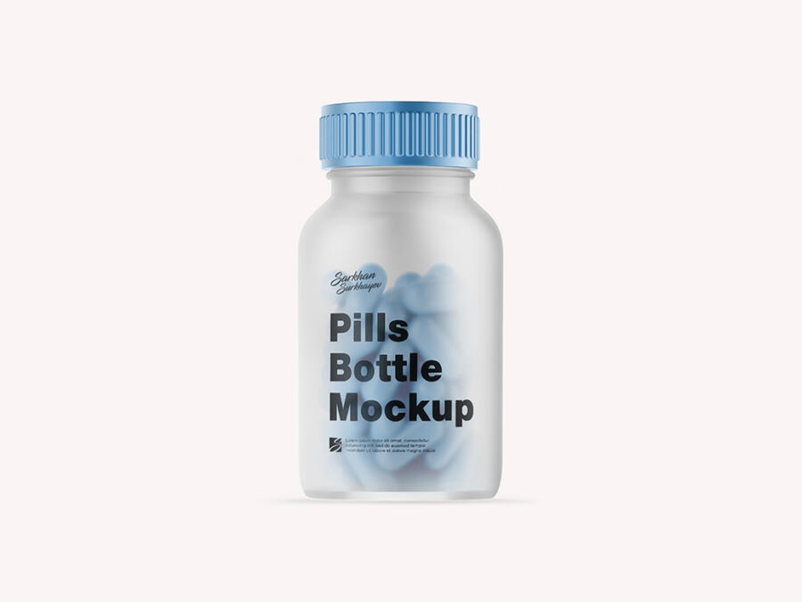 Pill Bottle Free Mockup (PSD)