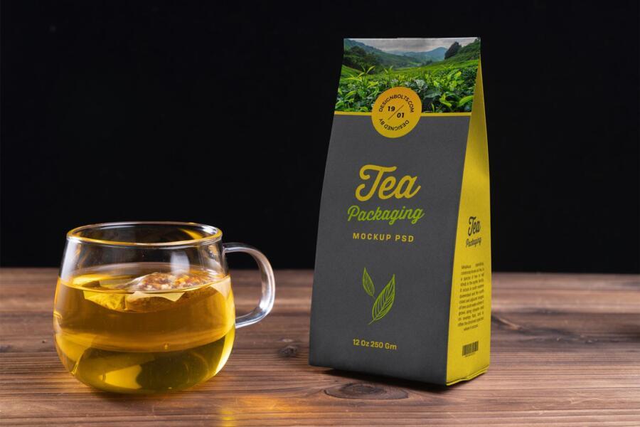 Tea Kraft Paper Packaging Mockup (PSD)