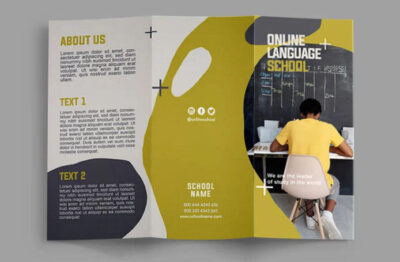 Free Language School Trifold Brochure (PSD)