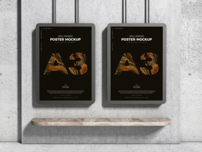 A3 Advertising Wall Framed Poster Free Mockup