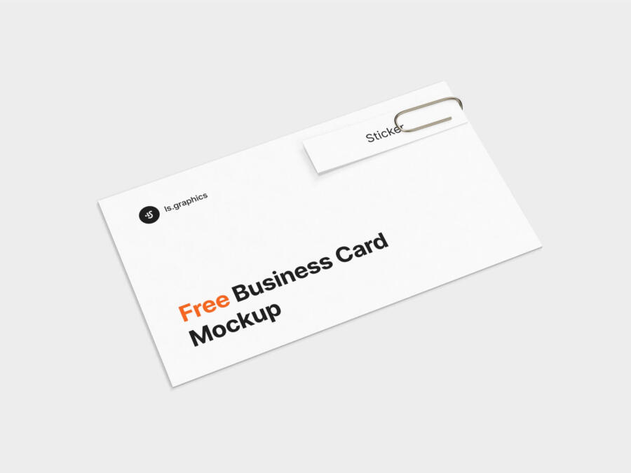 Business Card With Sticker Free Mockup