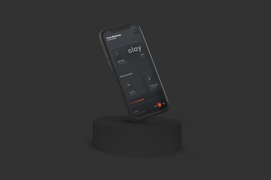Clay Phone Scene Free Mockup (PSD)