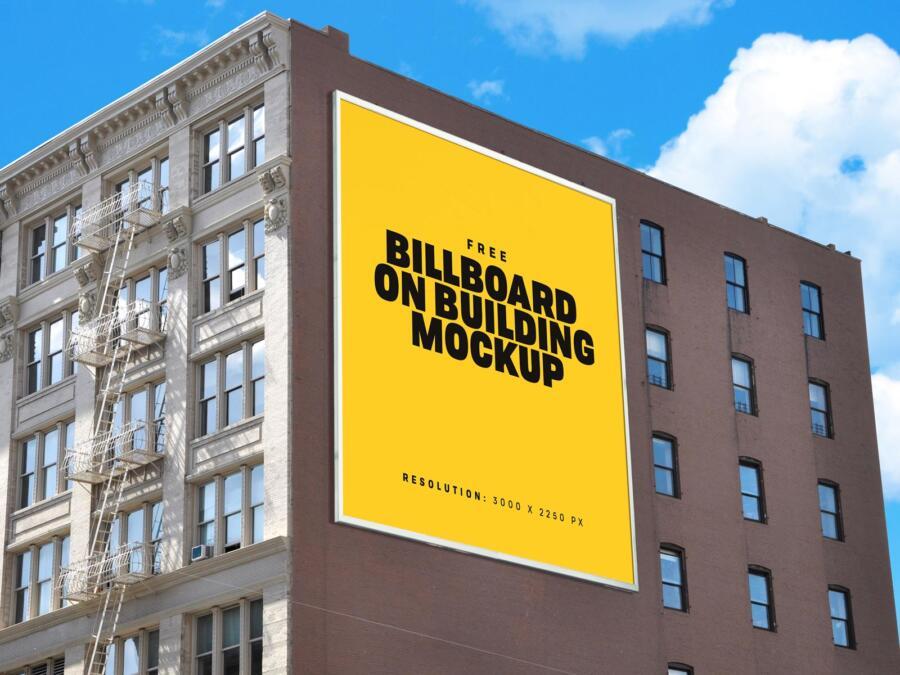 Free Building Billboard Mockup (PSD)