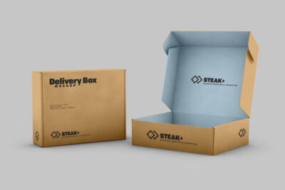 Free Delivery Shipping Box Mockup (PSD)