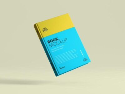 Free Flying Book Cover Mockup (PSD)