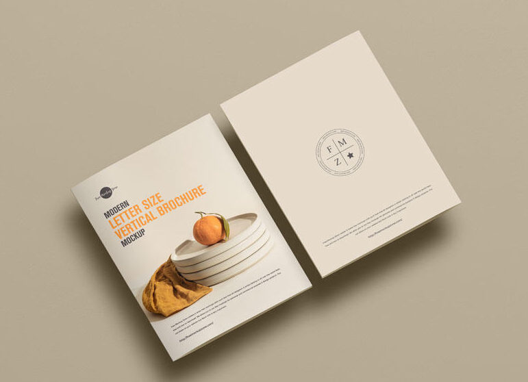 Free Front & Back Side Brochure Mockup