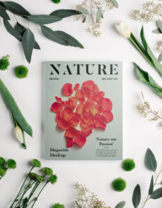 Free Magazine with Flowers Mockup