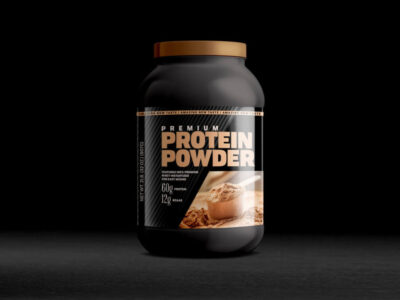 Free Protein Powder Bottle Mockup