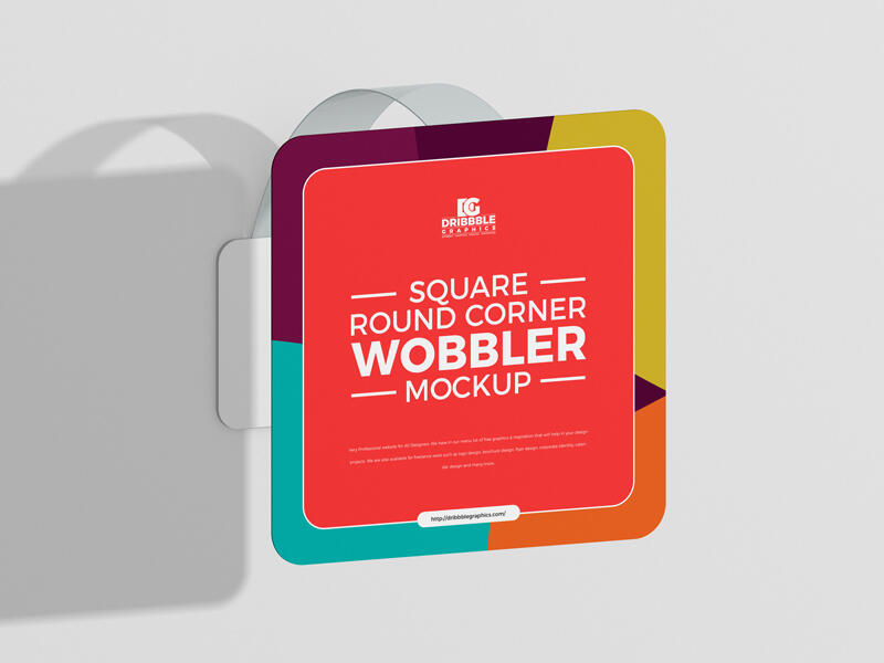 Free Square Round Corner Wobbler Mockup
