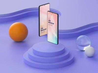 Free Two Smartphones Mockup