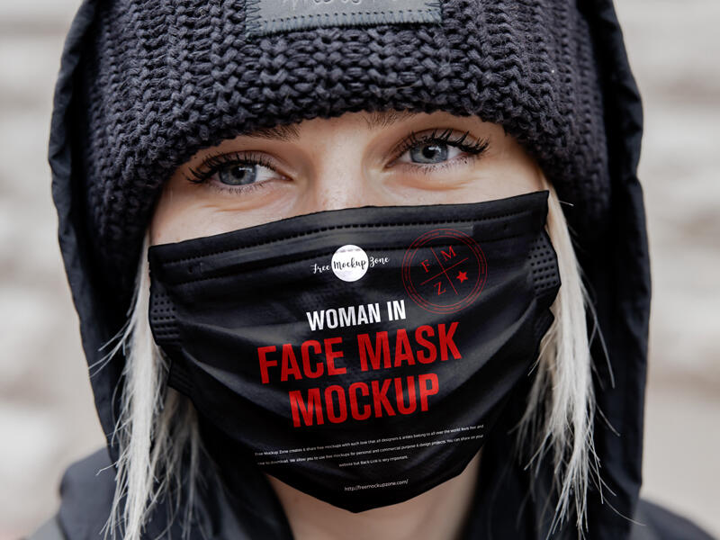 Free Woman in Face Mask Mockup