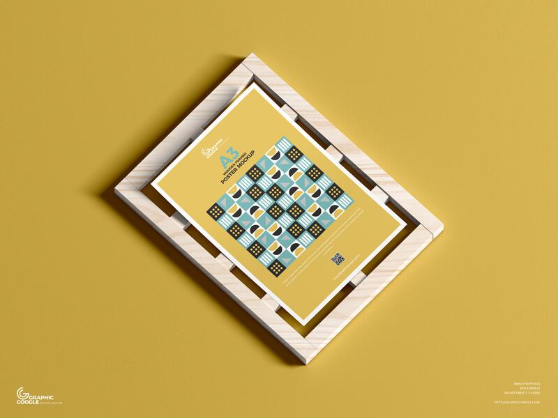 Free Wooden Framed A3 Poster Mockup